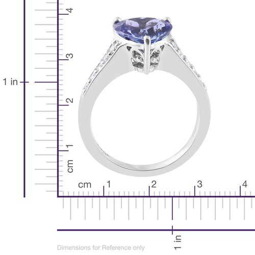 ILIANA 18K White Gold AAA Tanzanite (Hrt 2.90 Ct), Diamond (SI G-H) Heart Ring 3.150 Ct.