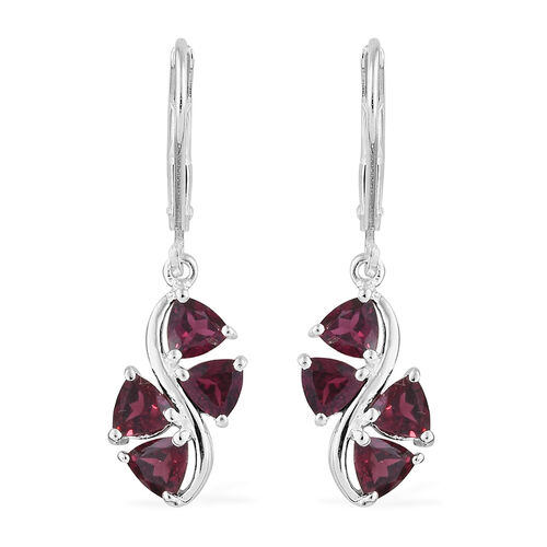 Rhodolite Garnet (Trl) Lever Back Earrings in Sterling Silver 1.500 Ct.