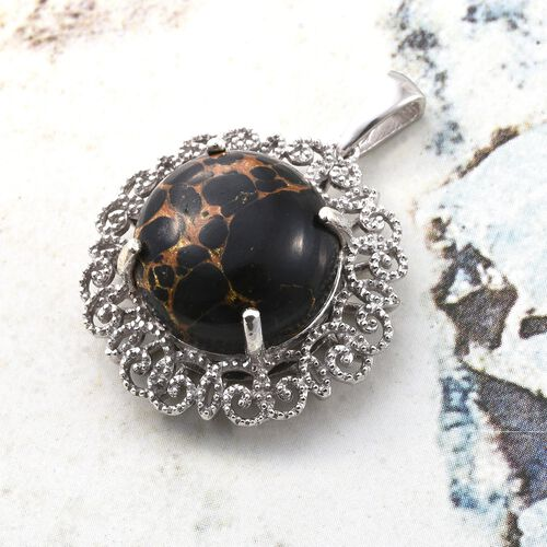 Arizona Mojave Black Turquoise (Rnd) Pendant in Platinum Overlay Sterling Silver 12.750 Ct.