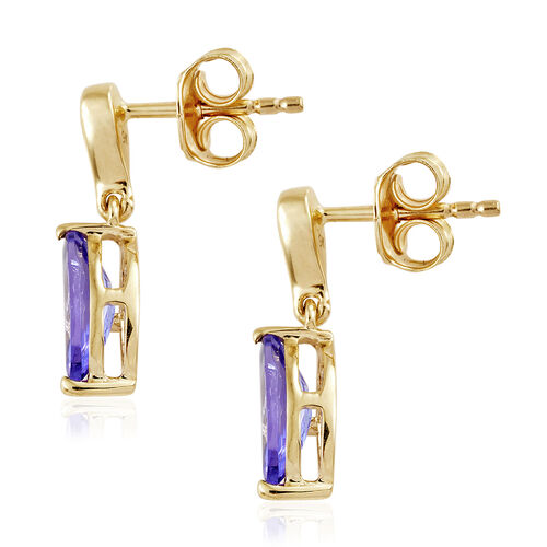9K Yellow Gold AA Tanzanite (Mrq), Diamond Earrings (with Push Back) 1.600 Ct.