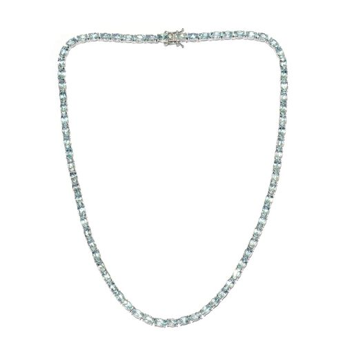 Sky Blue Topaz (Ovl) Necklace (Size 18) in Platinum Overlay Sterling Silver 40.000 Ct.