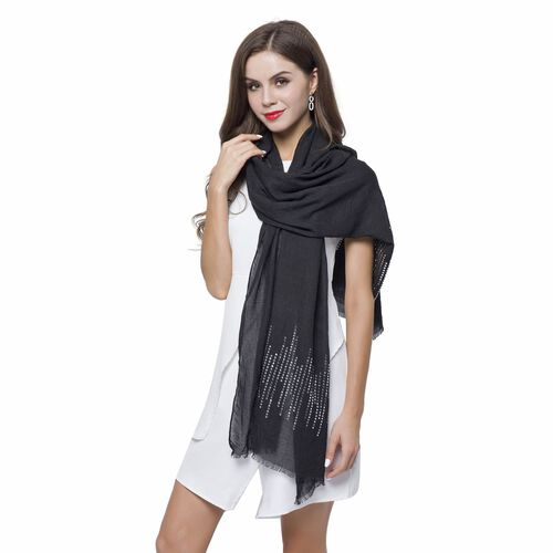 Silver Sequins Embellished Black Colour Scarf with Fringes (Size 180X70 Cm)
