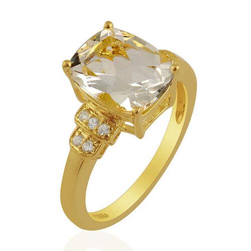 KARIS Collection - White Topaz (Cush 3.50 Ct) Ring in Gold Bond  3.60 Ct.
