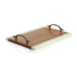 Rectangular Shape Wooden Cake Tray with Marble Edges and Handle (Size 35.5X26 Cm)