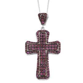 Designer Inspired-Rhodolite Garnet (Rnd), Natural Cambodian Zircon Cross Pendant with Chain in Black Rhodium and Platinum Overlay Sterling Silver 3.500 Ct. Gemstone Studded 268 Pcs