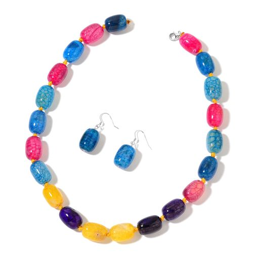 Multi Colour Agate Necklace (Size 18 with 2 inch Extender) and Hook Earrings in Rhodium Plated Sterling Silver 545.000 Ct.