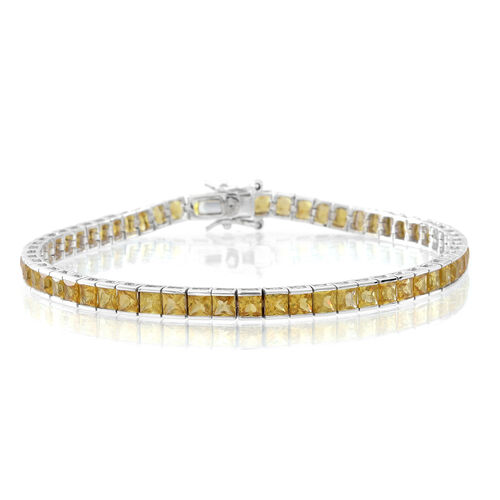 9K White Gold AA Yellow Sapphire (Sqr) Tennis Bracelet (Size 7.5) 12.000 Ct.