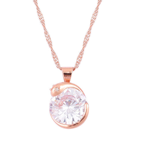AAA Simulated Diamond Snake Design Pendant With Chain (Size 18 with 1.5 inch Extender) and Hook Earrings Rose Plated