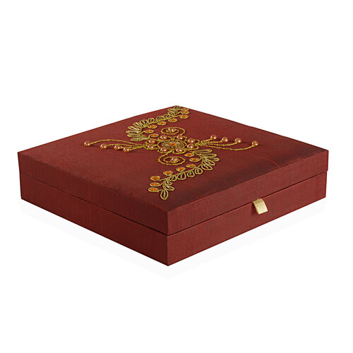 Zardosi Hand Embroidered Maroon Colour 100 Slot Ring Box (Size 25.5X25.5X6 Cm)