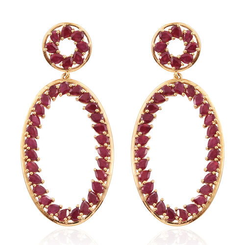 AAA African Ruby (Pear) Earrings (with Push Back) in 14K Gold Overlay Sterling Silver 15.500 Ct.
