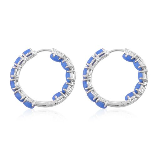 Blue Jade (Ovl) Hoop Earrings (with Clasp Lock) in Rhodium Plated Sterling Silver 14.000 Ct.