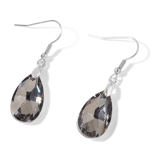 Simulated Grey Diamond Necklace (Size 20 with 2 inch Extender) and Hook Earrings in Silver Tone with Stainless Steel
