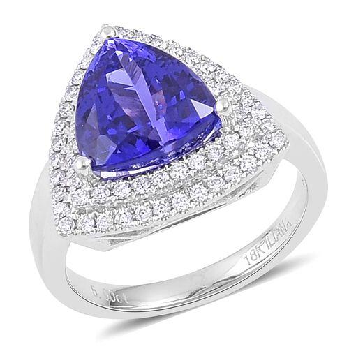 ILIANA 5.50 Ct. AAAA Tanzanite and Diamond (SI/G-H) Double Halo Ring in 18K White Gold