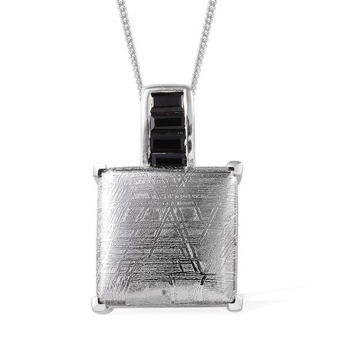 Meteorite (Sqr 19.50 Ct), Boi Ploi Black Spinel Pendant With Chain in Platinum Overlay Sterling Silver 20.250 Ct.