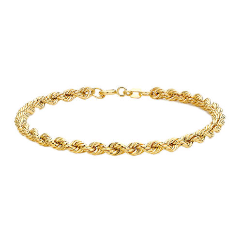 Vicenza Collection 9K Yellow Gold Rope Chain Bracelet (Size 7), Gold wt 2.60 Gms.