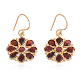 Indian Garnet (Pear) Floral Hook Earrings in Yellow Gold Overlay Sterling Silver 3.600 Ct.
