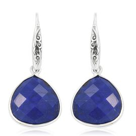 One Time Deal- Designer Inspired AAA Blue Howlite (Pear) Hook Earrings in Sterling Silver 20.490 Ct.