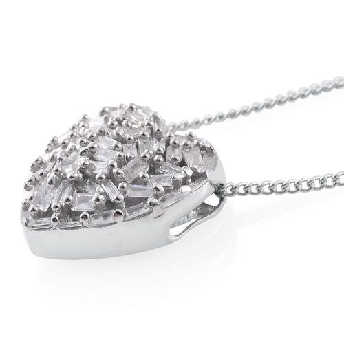 GP Diamond (Bgt), Kanchanaburi Blue Sapphire Heart Pendant with Chain (Size 18) in Platinum Overlay Sterling Silver 0.350 Ct.