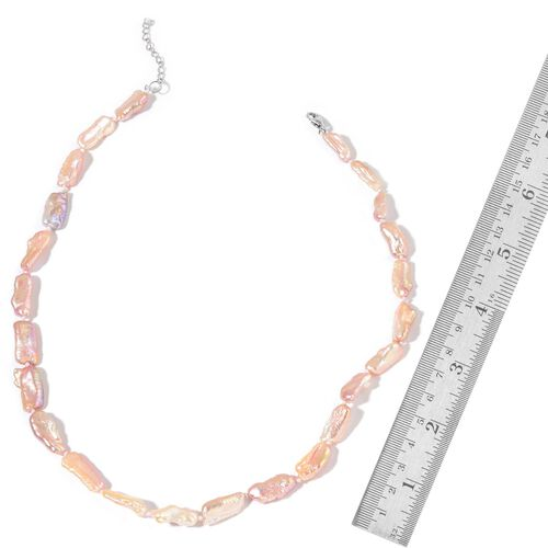 Multi Colour Keshi Pearl Necklace (Size 20 with 2 inch Extender) and Stretchable Bracelet (Size 7.50) in Rhodium Plated Sterling Silver