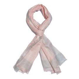 100% Modal Orchid Pink and Silver Colour Scarf with Fringes (Size 180X70 Cm)