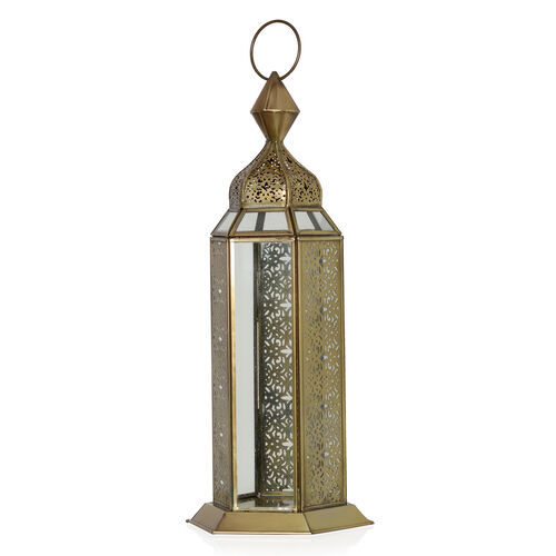 Home Decor - Laser Cut Work Golden Colour Lantern with LED T Light
