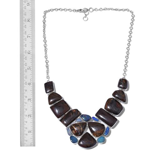 Boulder Opal Rock and Opal Double Necklace (Size 18 with 1 inch Extender) in Sterling Silver 220.401 Ct.