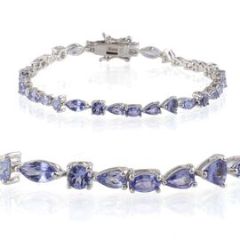 Tanzanite Bracelet in Platinum Overlay Sterling Silver (Size 7.5) 7.000 Ct.