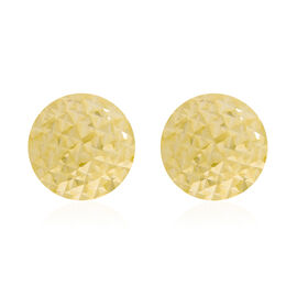 Italian Made 9K Yellow Gold Diamond Cut Stud Earrings (with Push Back)