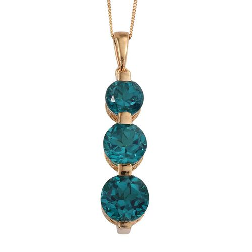 Capri Blue Quartz (Rnd 4.35 Ct) 3 Stone Pendant With Chain in 14K Gold Overlay Sterling Silver 9.850 Ct.