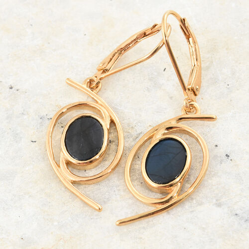 Natural Spectrolite (Ovl) Lever Back Earrings in 14K Gold Overlay Sterling Silver 2.000 Ct.