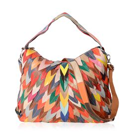 100% Genuine Leather Multi Colour Wave Pattern Tote Bag (Size 38x30x13 Cm)