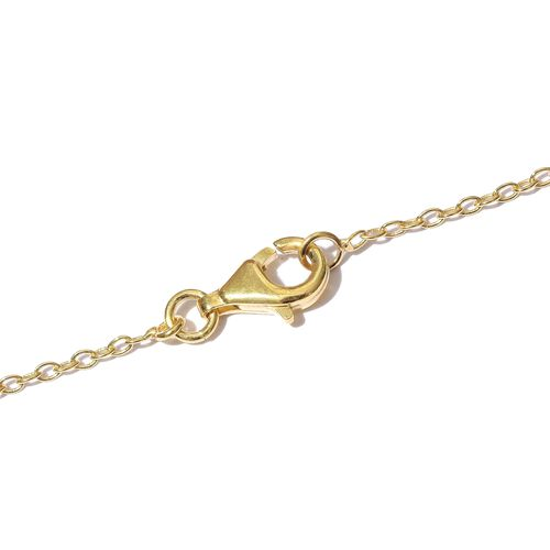 Yellow Gold Overlay Sterling Silver Heart Necklace (Size 18), Silver wt. 9.40 Gms.