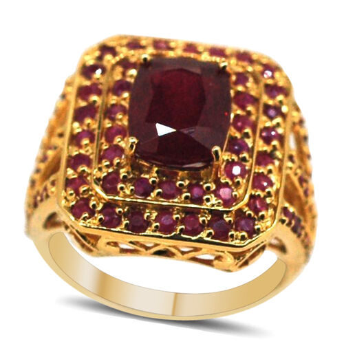 African Ruby (Cush 4.25 Ct), Burmese Ruby Ring in 14K Gold Overlay Sterling Silver 7.250 Ct.
