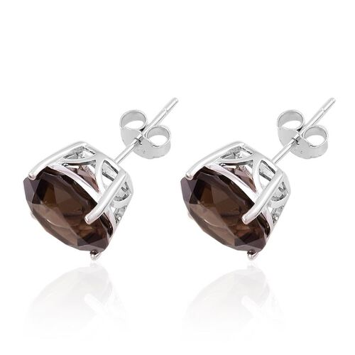 Brazilian Smoky Quartz (Rnd) Stud Earrings (with Push Back) in Rhodium Plated Sterling Silver 9.450 Ct.
