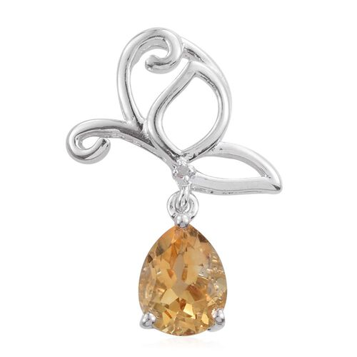 Citrine (Pear), Diamond Butterfly Pendant in Platinum Overlay Sterling Silver 1.500 Ct.