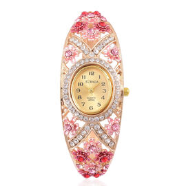 STRADA Japanese Movement Sunshine Dial Garden Theme Bangle Watch in Yellow Gold Tone with White, Pink and Red Austrian Crystal