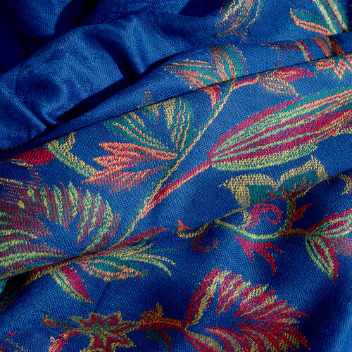 Blue, Red, Golden and Multi Colour Floral Pattern Scarf with Fringes (Size 200x70 Cm)