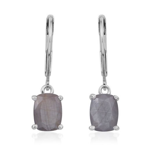 Natural Silver Sapphire (Cush) Lever Back Earrings in Rhodium Plated Sterling Silver 4.500 Ct.