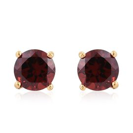 Mozambique Garnet Round 2.50 Carat Solitaire Silver Stud Earrings (with Push Back) in Gold Overlay.