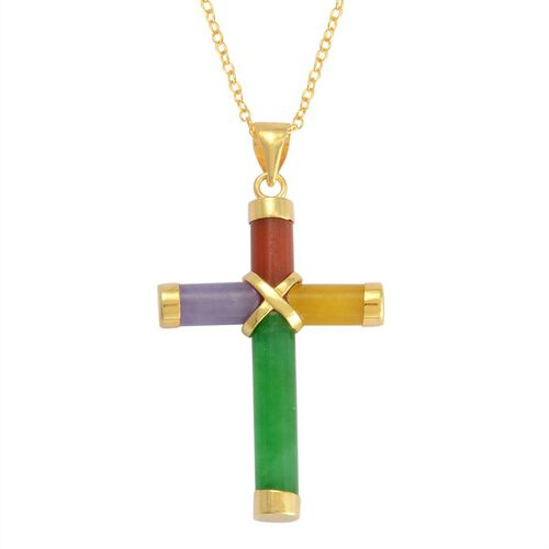 Multi Colour Jade Cross Pendant with Chain in 14K Gold Overlay Sterling Silver 6.600 Ct.
