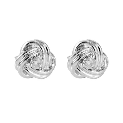9K White Gold 0.10 Carat Diamond (Rnd) Earrings (with Push Back) SGL Certified (I3/G-H)