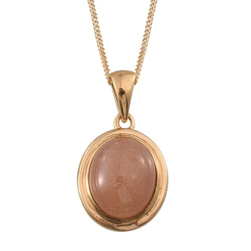 Morogoro Peach Sunstone (Ovl) Solitaire Pendant With Chain in 14K Gold Overlay Sterling Silver 3.500 Ct.