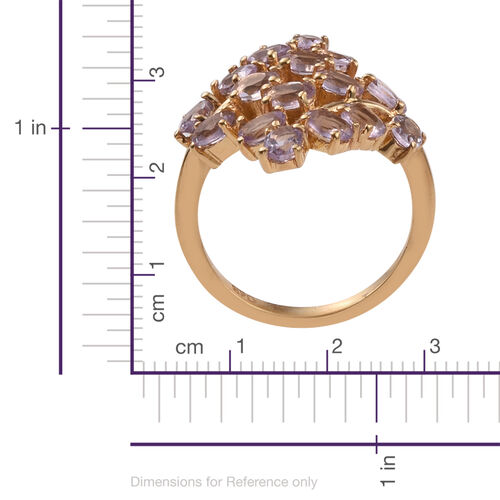 Rose De France Amethyst (Ovl) Leaves Crossover Ring in ION Plated 18K Yellow Gold Bond 2.500 Ct.