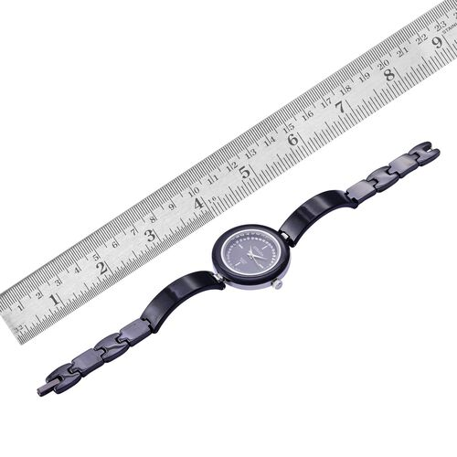 STRADA Japanese Movement Black Dial with White Austrian Crystal Water Resistant Watch in Silver Tone with Stainless Steel Back and Black Ceramic Strap
