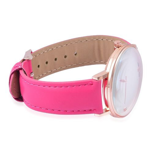 GENOA Diamond Studded Dial Watch with Fuchsia Colour Strap