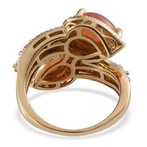 Mitiyagoda Peach Moonstone (Pear), Rhodolite Garnet Crossover Ring in 14K Gold Overlay Sterling Silver 3.750 Ct.