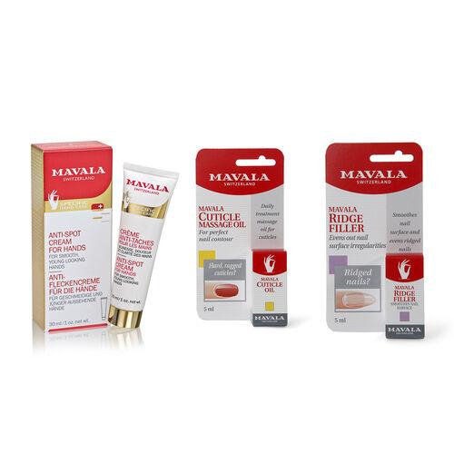 Mavala- Anti Age Hand Care Treatment- Anti spot cream for hands 30ml , 5 ml cuticle oil, 5 ml ridge filler