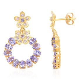 Tanzanite (Ovl) Earrings (with Push Back) in Yellow Gold Overlay Sterling Silver 4.650 Ct.