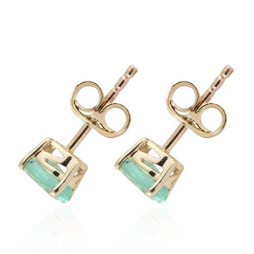 0.90 Ct AA Boyaca Colombian Emerald Stud Earrings in 9K Gold (with Push Back)