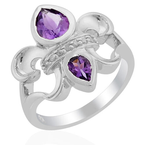 Amethyst (Pear 0.90 Ct), Diamond Ring in Platinum Overlay Sterling Silver 1.250 Ct.